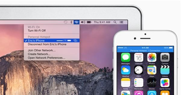 hotspot ios 8.1 OS X Yosemite