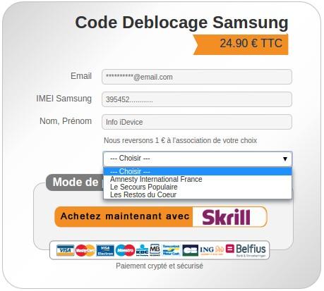 code deblocage samsug gratuit
