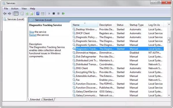 desactiver diagnostics tracking service windows-infoidevice