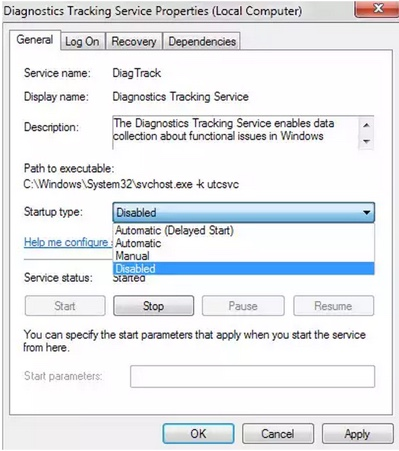 desactiver service suivi windows-infoidevice