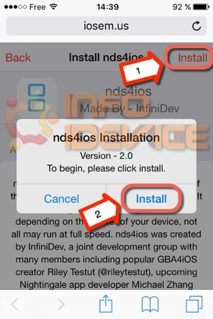 Etape 1 tuto installer emulateur nds4ios-infoidevice