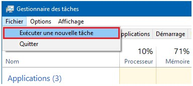 executer une nouvelle tache windows-infoidevice