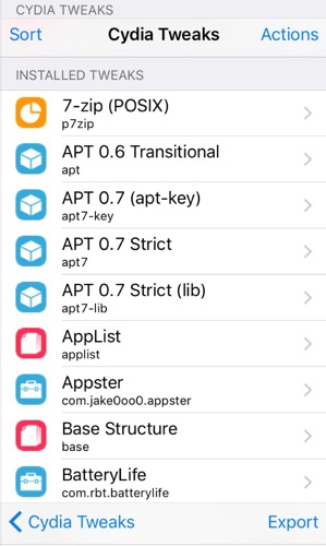 liste tweaks via appster-infoidevice