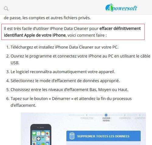effacer identifiant apple avec logiciel-infoidevice