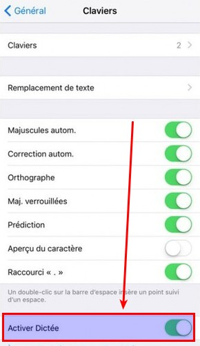 desactiver option dictee ios-infoidevice