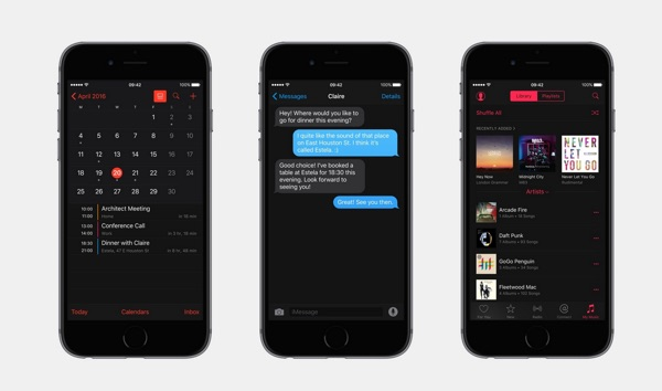 mode sombre ios 10-infoidevice