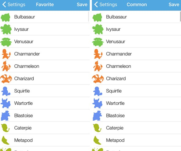 pokemon favoris et communs-infoidevice