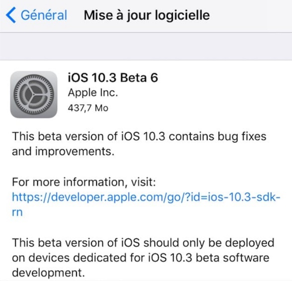 ios 10.3 beta 6 publique