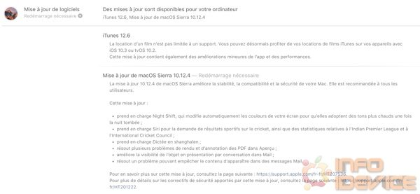 mise a jour logicielle macos 10.12.4 infoidevice