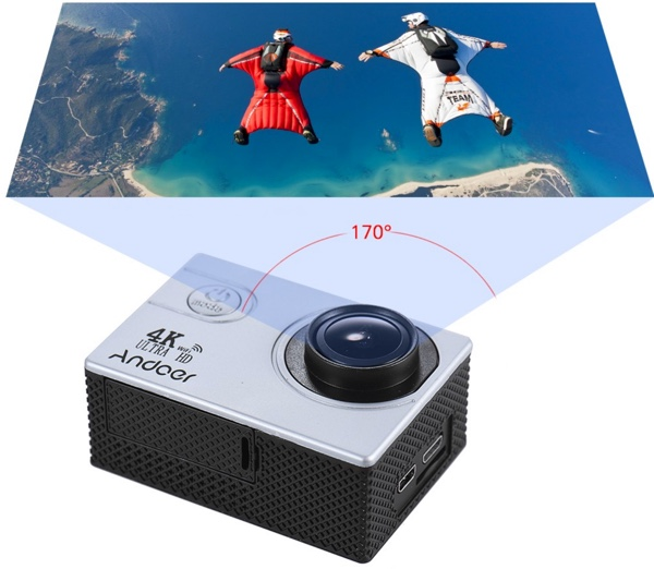 camera action grand angle andoer an4000 4k infoidevice