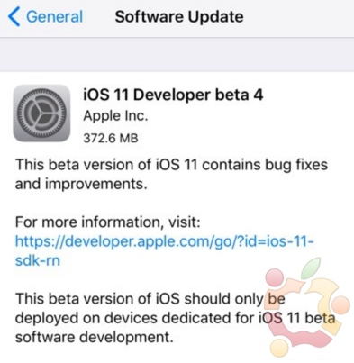 ios 11 beta 4 developpeur infoidevice
