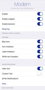 reglages tweak modern notifications ios infoidevice