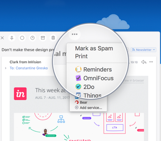 spark mail export vers gestionnaires de taches infoidevice
