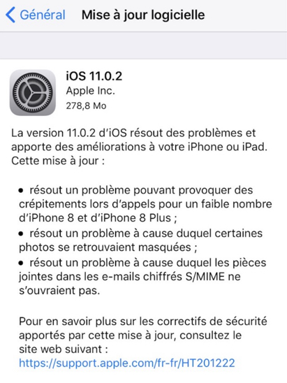 mise a jour ios 11.0.2 apple infoidevice