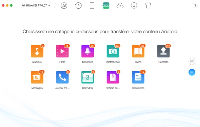 selection donnees a transferer android vers ios avec anytrans