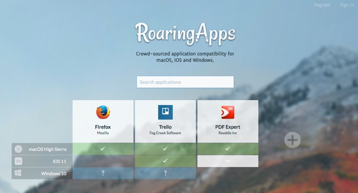 verifier compatibilite application macos high sierra avec roaringapps