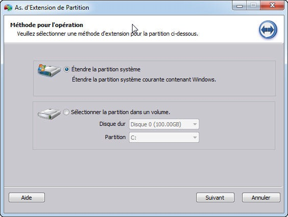 aomei assistant extesnion de partition