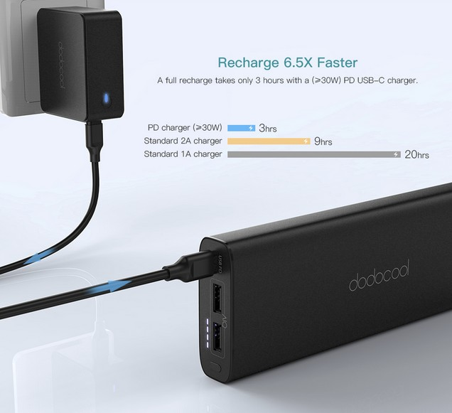 charge rapide powerbank dodocool dp13