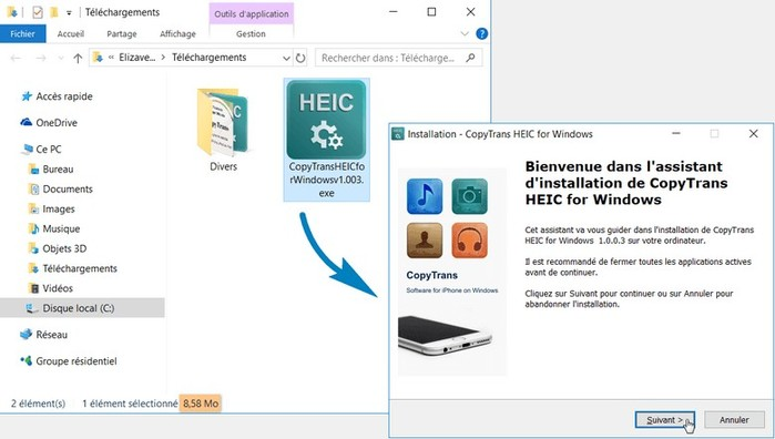 installer extension copytrans heic sur pc windows