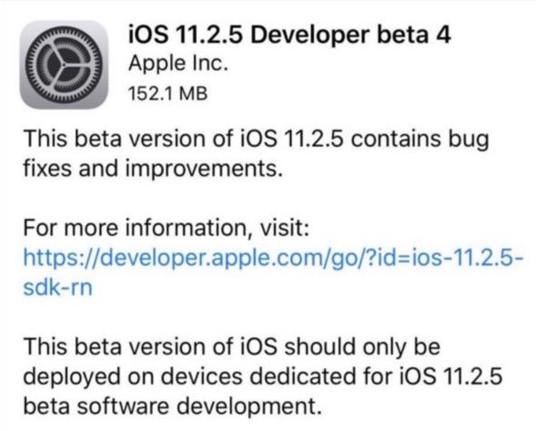 quatrieme beta publique ios 11.2.5