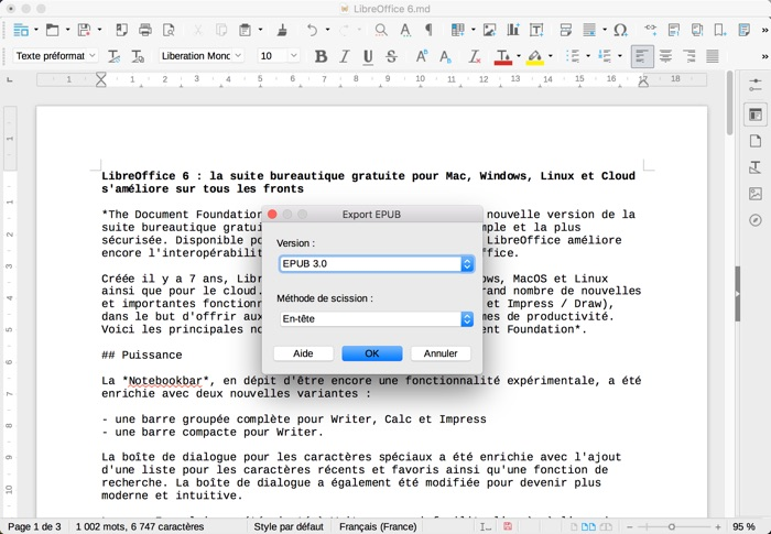 export format epub avec libreoffice 6