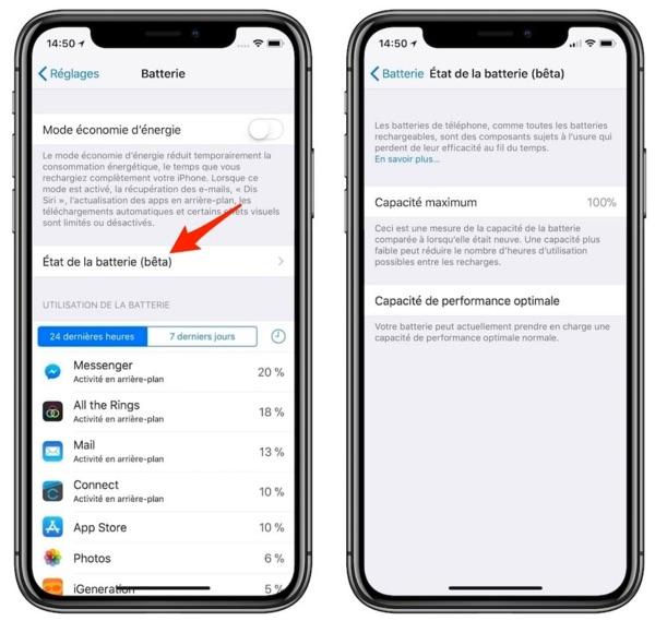 fonction etat de la batterie iphone x ios 11.3