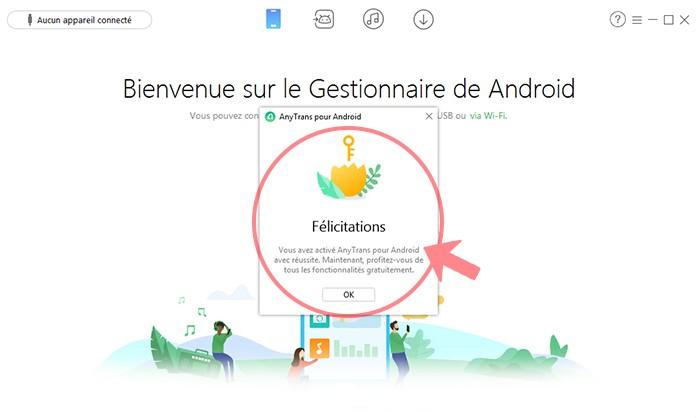 activer gratuitemet logiciel anytrans android mac ou windows
