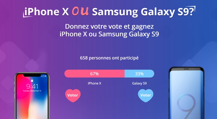 concours iphone x galaxy s9