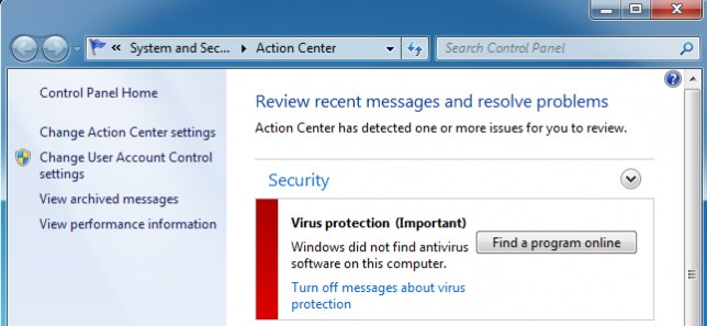 message windows installer un antivirus