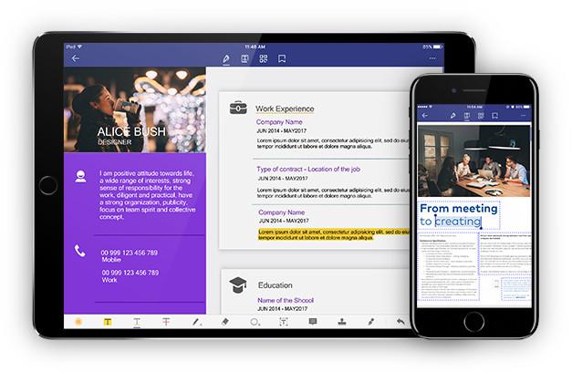 pdfelement disponible sur smartphone et tablette