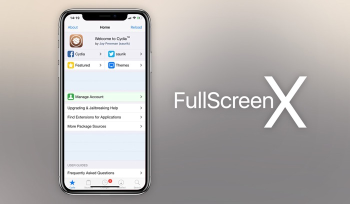 tweak FullScreenX ios 11