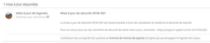 mise a jour de securite macos 10.13.4