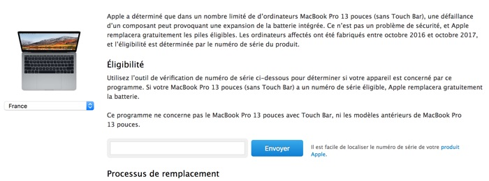 programme remplacement batterie macbook pro sans touch bar