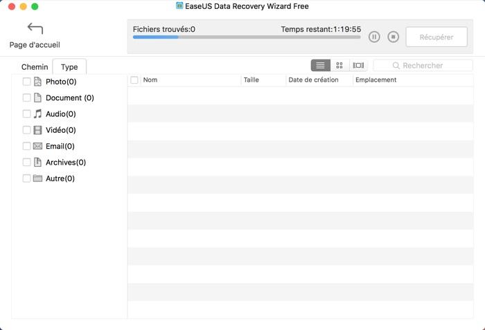 recherche fichiers perdus avec easeus data recovery