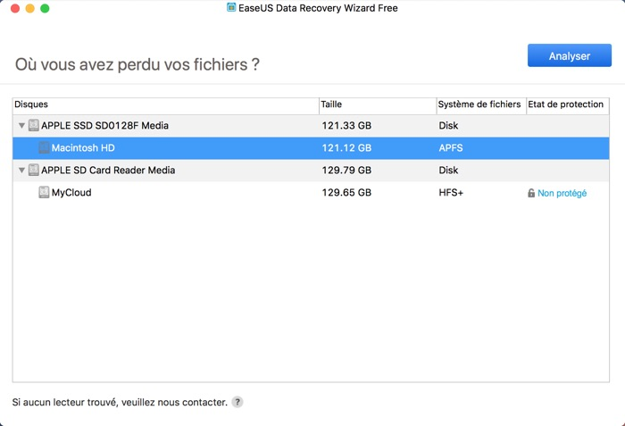 selection analyse disque dur avec easeus data recovery
