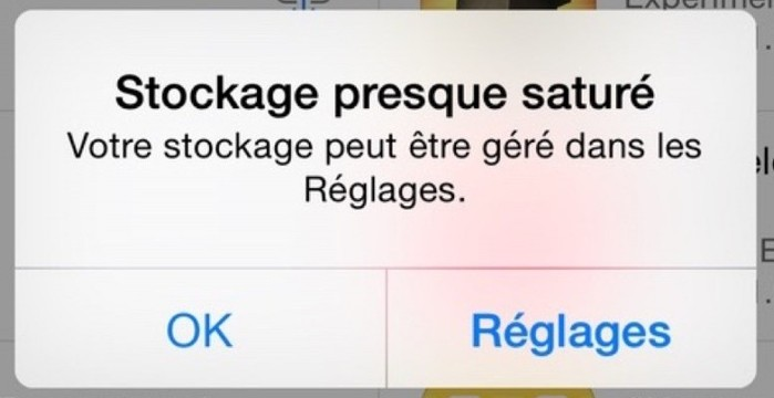 stockage presque sature iphone