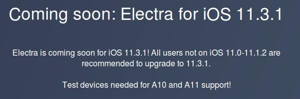 jailbreak electra ios 11.3.1 iphone et ipad