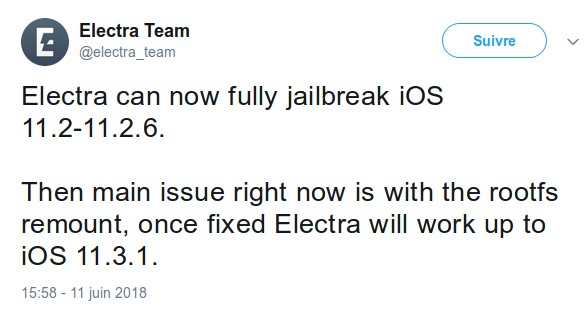 jailbreak team electra ios 11.3.1