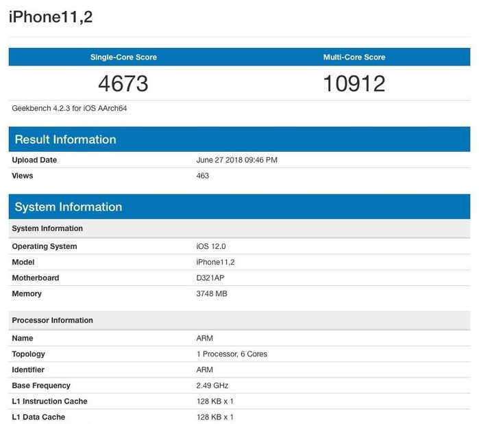 benchmark iphone 11.2 2018 geekbench