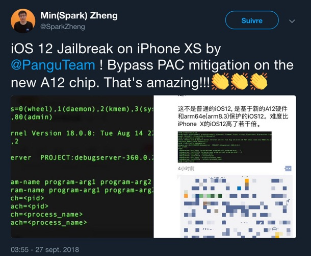 jailbreak ios 12 iphone xs par la team pangu