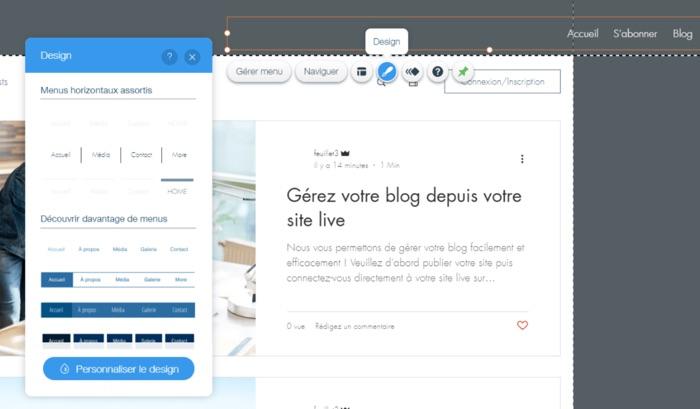modifier design site web wix