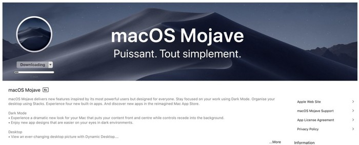 telecharger macos mojave