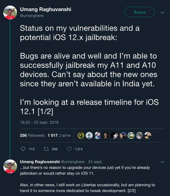 Dernières informations concernant le jailbreak iOS 12