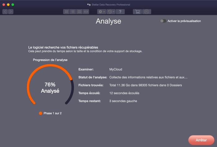 analyse rapide stellar data recovery professional pour mac