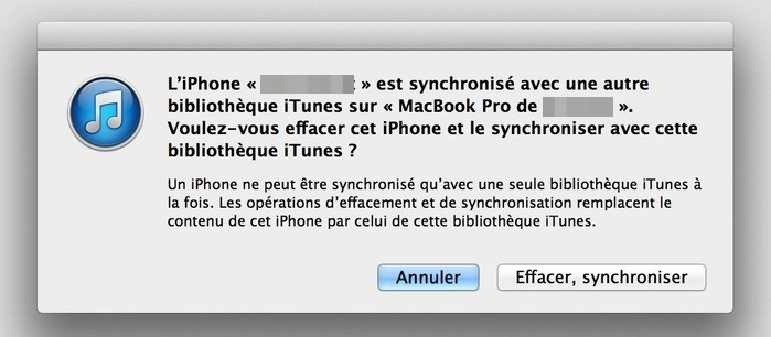 probleme synchronisation iphone avec itunes