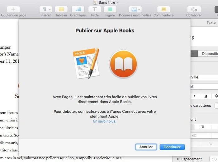 publier documents pages sur apple books