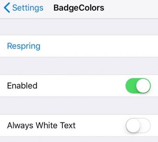 reglages tweak badgecolors