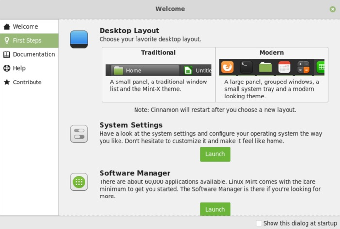 linux mint 19.1 bureau traditionnel ou moderne