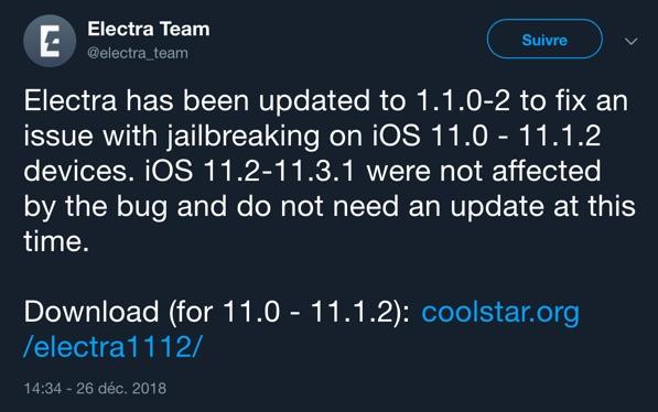 mise a jour jailbreak electra 1.1.0-2