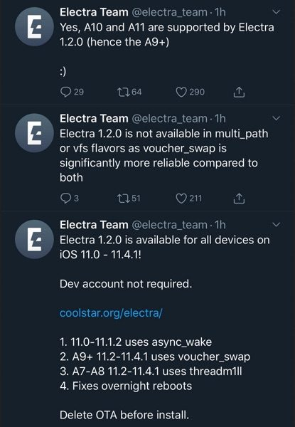 team electra jailbreak ios 11.4.1